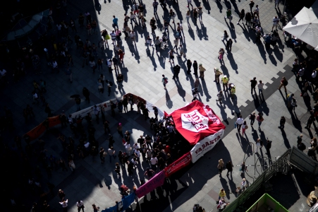 "View on top of the demonstration demanding ""Free PAul"""
