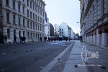 After severe clashes Leipzig streets are covered with thrown rocks and tear gas shells.