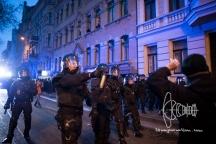 Riot police pepper sprays left demonstrators.