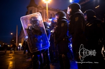 A huge amount of tear gas was launched during the day by saxonian police forces.