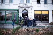 Clashes erupt in Leipzig.