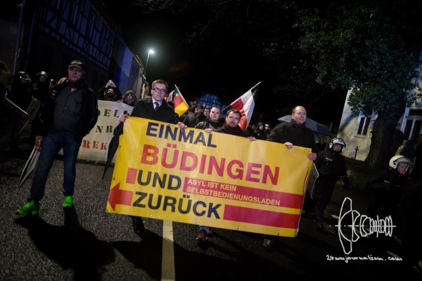 Neonazis march through Hesse town of Büdingen lead by MelanieDittmer