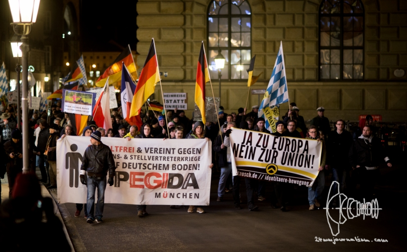 PEGIDA Munich 01-25-16 – Identitarian Movement Joins With Banner