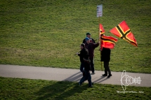 PEGIDA members approach the racist gathering on the riverside of the Elbe.