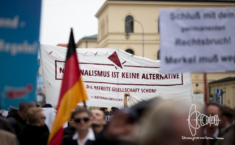 AfD Munich holds rally onOdeonsplatz