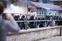 Clashes erupt between activists and police.