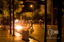 Anarchists attacked police and busses out of Polytechniko university with stines and molotow cocktails.