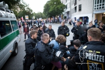 PEGIDA route is blocked by more then 50 antifascists - police push people violently off street