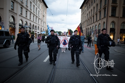PEGIDA walking down Maximilliansstreet with new front banner.