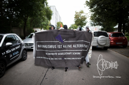 Spontaneous demonstration against election party of AfD in Munich.