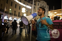 Adeel talks to the demonstration.