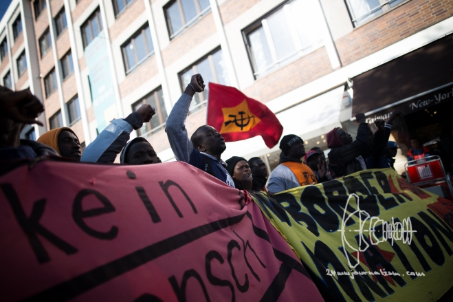 Protest against New German Integrationlaw in Munich - Police Violence Errupts