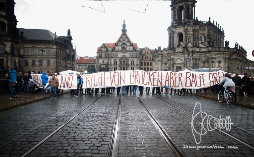 Protests against Unification Celebration in Dresden