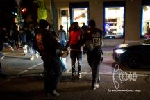 Group of refugees collectively leaves Sendlinger-Tor-Platz.