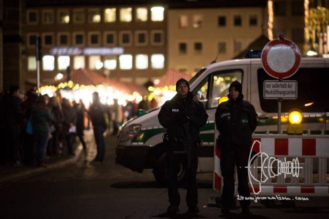 Armed police guard world's largest christmas market in Nurnberg