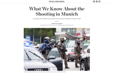 """The Wall Street Journal - What We Know About the Shooting in Munich"" Headerpicture"