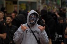 Rioter posing for camera